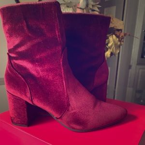 Red Suede Chunky Heel Boots